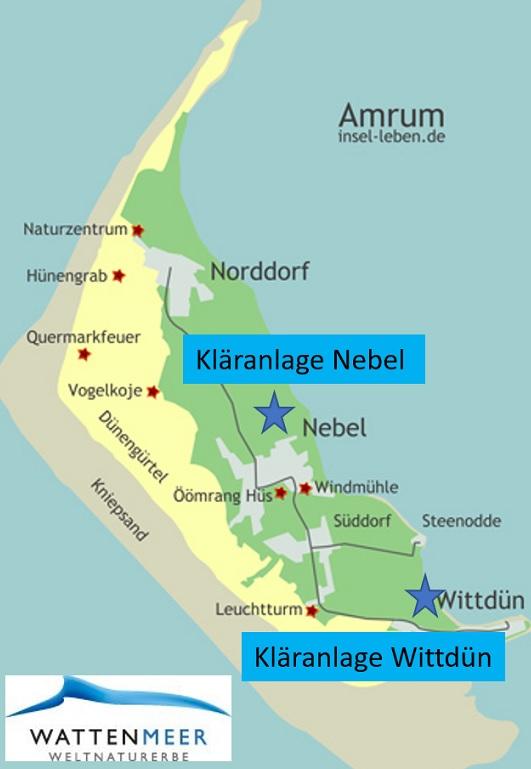 Karte von der Insel Amrum